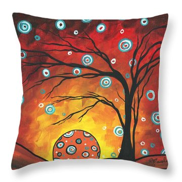 Abstract Art Original Landscape Painting Setting Sun By Madart Throw Pillow by Megan Duncanson