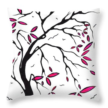 Abstract Artwork Modern Original Landscape Pink Blossom Tree Art Pink Foliage By Madart Throw Pillow by Megan Duncanson