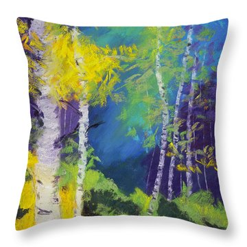 Abstract Aspens Throw Pillow by Dana Strotheide