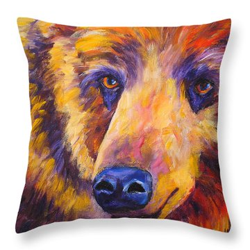 Abstract Bear Grizzley Throw Pillow by Mary Jo Zorad