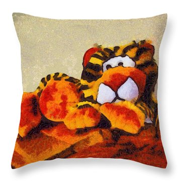 Abstract Bengal Tiger Throw Pillow by Barbara Snyder
