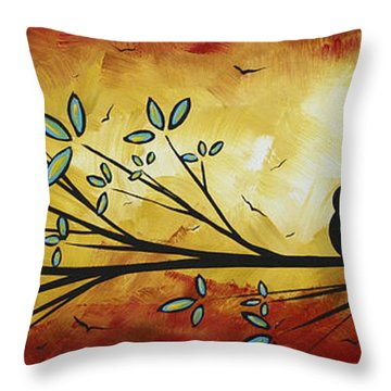 Abstract Bird Landscape Tree Blossoms Original Painting Family Of Three Throw Pillow by Megan Duncanson