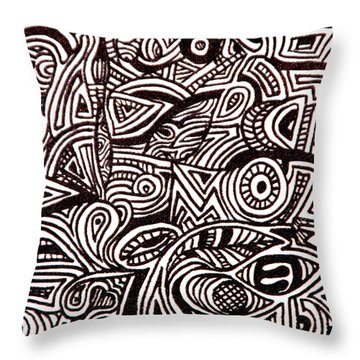 Throw Pillow featuring the painting Abstract Black And White Ink Line Drawing by Jean Haynes