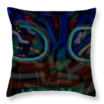Abstract Black Blue Throw Pillow