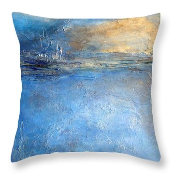 Transcend Abstract Blue Brown And Gold Textured Painting  Throw Pillow
