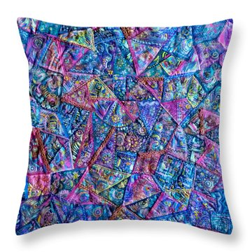 Abstract Blue Rose Quilt Throw Pillow by Jean Fitzgerald