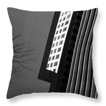 Abstract Building Patterns Black White Throw Pillow
