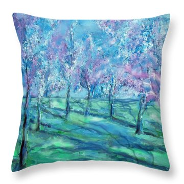 Abstract Cherry Trees Throw Pillow by Eric  Schiabor