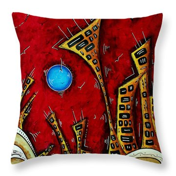 Abstract City Cityscape Art Original Painting Stand Tall By Madart Throw Pillow by Megan Duncanson