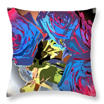 Abstract Cluster Of Roses Throw Pillow by Minding My  Visions by Adri and Ray