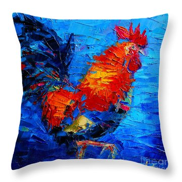 Abstract Colorful Gallic Rooster Throw Pillow