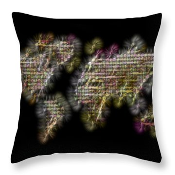 Abstract Colorful World Map Fractalius Throw Pillow by Georgeta Blanaru