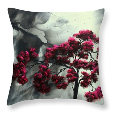Abstract Contemporary Art Landscape Painting Modern Artwork Pink Passion By Madart Throw Pillow by Megan Duncanson