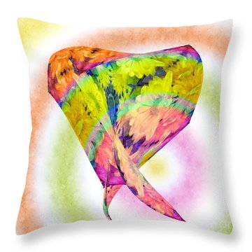 Abstract Crazy Daisies - Flora - Heart - Rainbow Circles - Painterly Throw Pillow by Andee Design