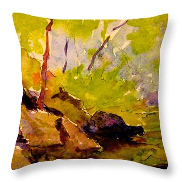 Abstract Creek In Woods Throw Pillow by Gretchen Allen