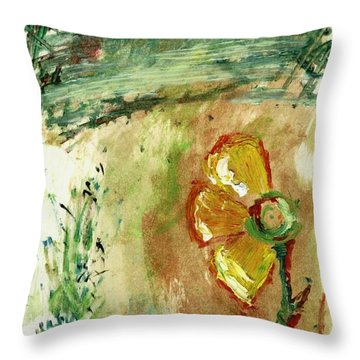 Abstract Daisy Throw Pillow by Cathy Peterson