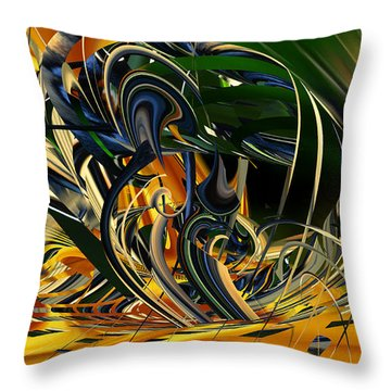 Throw Pillow featuring the digital art Descent Into Hell - Abstract by rd Erickson