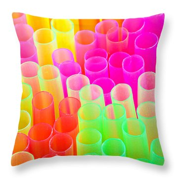 Throw Pillow featuring the photograph Abstract Drinking Straws #2 by Meirion Matthias