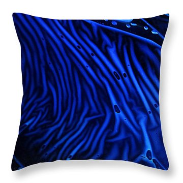 Abstract Experimental Chemiluminescent Photography Blue 1 Throw Pillow