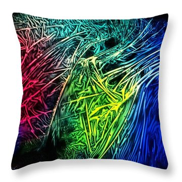 Abstract Experimental Chemiluminescent Photography Throw Pillow by David Mckinney