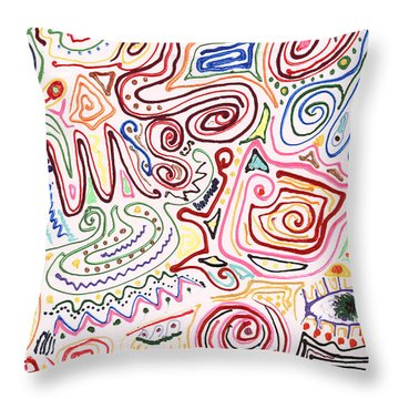 Abstract - Fabric Paint - Urban Society Throw Pillow by Mike Savad
