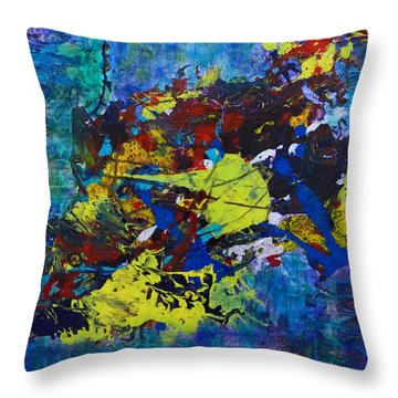 Throw Pillow featuring the painting Abstract Fish  by Claire Bull
