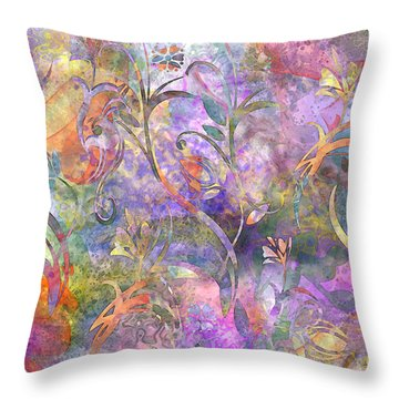 Abstract Floral Designe  Throw Pillow by Debbie Portwood