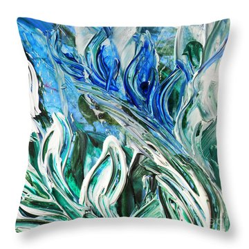 Abstract Floral Sky Reflection Throw Pillow