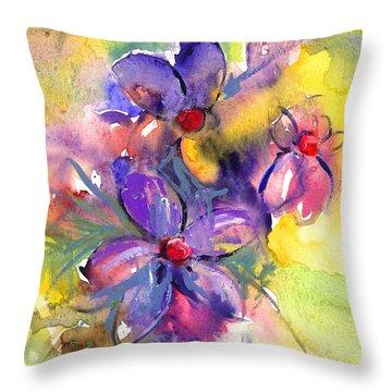 abstract Flower botanical watercolor painting print Throw Pillow by Svetlana Novikova
