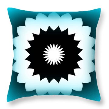 Abstract Flower In Teal Throw Pillow