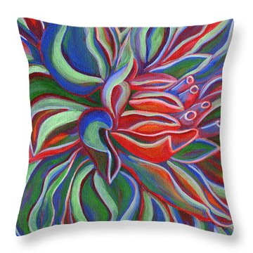 Throw Pillow featuring the painting Abstract Flower by Janice Dunbar