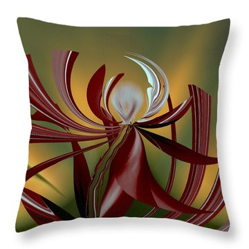 Throw Pillow featuring the digital art Abstract - Flower by rd Erickson