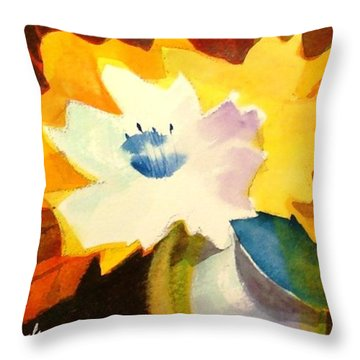 Throw Pillow featuring the painting Abstract Flowers 2 by Marilyn Jacobson