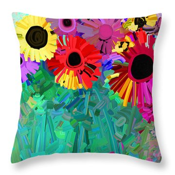 abstract - flowers- Flower Power Four Throw Pillow by Ann Powell