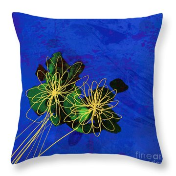 Abstract Flowers On Blue Throw Pillow
