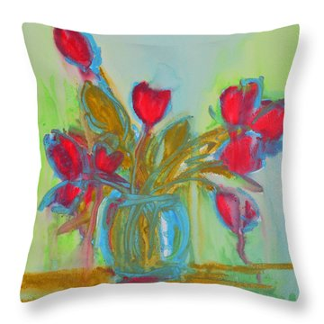 Abstract Flowers Throw Pillow by Patricia Awapara