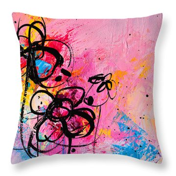 Abstract Flowers In Hot Pink 1 Throw Pillow