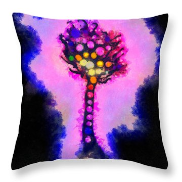 Abstract Glowball Tree Throw Pillow by Pixel Chimp