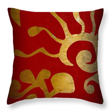 Abstract Gold Collage Throw Pillow by Patricia Cleasby