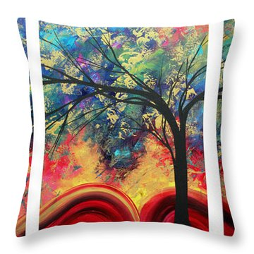 Abstract Gold Textured Landscape Painting By Madart Throw Pillow by Megan Duncanson