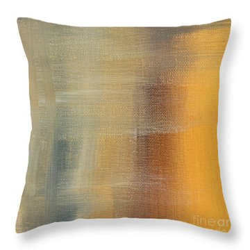 Abstract Golden Yellow Gray Contemporary Trendy Painting Fluid Gold Abstract I By Madart Studios Throw Pillow by Megan Duncanson