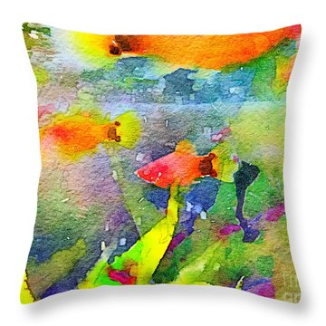 Abstract Goldfish Fish Bowl Aquarium Watercolor 1 Throw Pillow