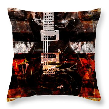 Abstract Guitar Into Metal Throw Pillow by Nola Lee Kelsey