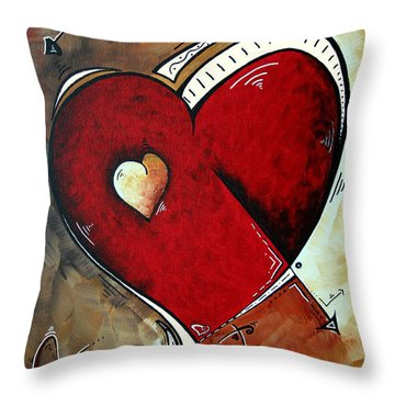Abstract Heart Original Painting Valentines Day Heart Beat By Madart Throw Pillow by Megan Duncanson