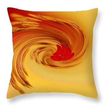 Abstract Swirl Hibiscus Flower Throw Pillow by Debbie Oppermann