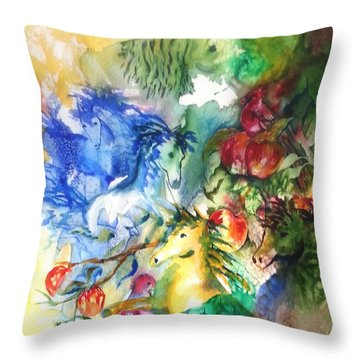 Abstract Horses Throw Pillow