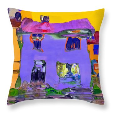 Abstract Houses Throw Pillow by Nina Bradica