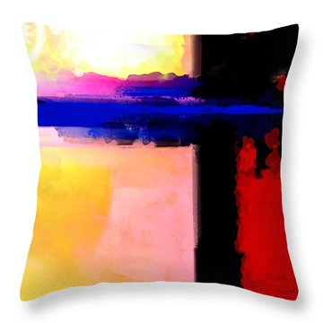 Throw Pillow featuring the painting Abstract Impressions Of A Blue Horizon by Karon Melillo DeVega