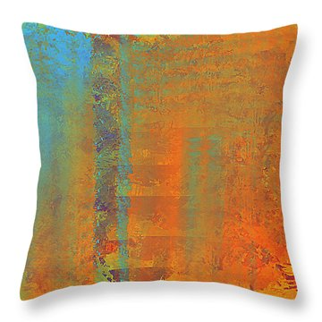 Abstract In Aqua Copper And Gold Throw Pillow