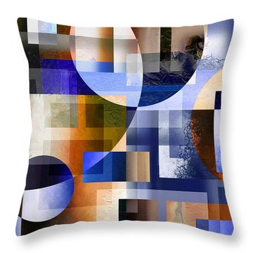 Throw Pillow featuring the painting Abstract In Blue by Curtiss Shaffer